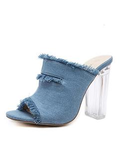 Frayed Design Denim Crystal High Heel Slippers