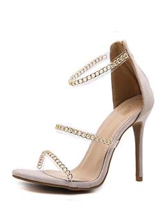 Bestseller Chains Decor Zipper High Heel Sandals