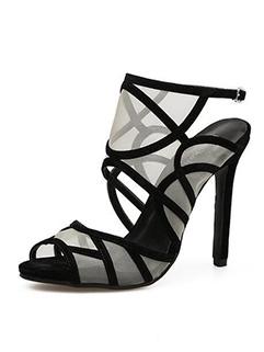 Unique Strappy Mesh Peep-toe Sexy Sandals