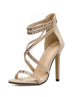 Rhinestone Cross Strappy High Heel Sandals