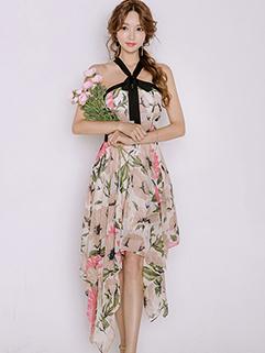 Beautiful Fashion Floral Printing Asymmetrical Hem Halter Dresses