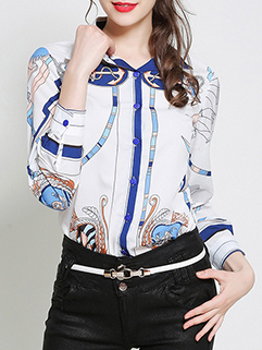Fashion Long Sleeve Printed Blouse For Women