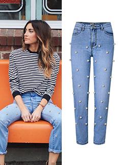 Fashion Straight Washed High Waist Denim Long Pants