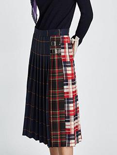 Spring Vintage Patchwork Plaid Skirt(3-4 Days Delivery )