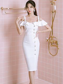 Single Breasted Flounce Sleeve Wrap Dresses