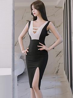 Sexy Contrast Color Skinny Wrap Dresses
