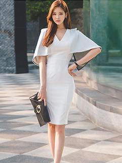 Fashion Bat Sleeve Design Wrap Dresses