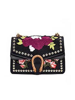 Spring Chic Embroidered Rivet Elegant Bag