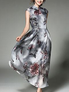 Fashion Chic Cheongsam Organza Floral Dresses