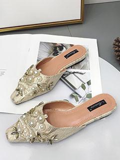 Elegant Square Toe Beading Slippers