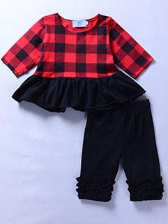 Newly Plaid Flouncing Hem Baby Girls Clothing Sets