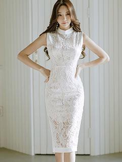 Elegant Transparent Embroidery Lace Wrap Dresses