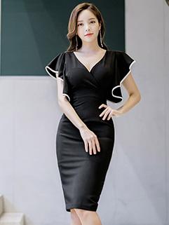 Backless Bat Sleeve Black Short Sleeve Lady Dress