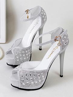 Chic Rhinestone Peep Toe Ankle Straps Sandals