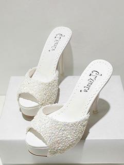 Street Style Rhinestone Peep Toe Stiletto Slippers