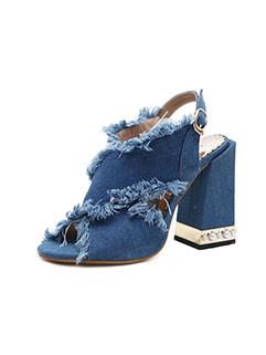 Solid Peep Toe Tassel Mid Heel Sandals