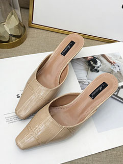 Elegant Square Toe Pump Heels Slippers