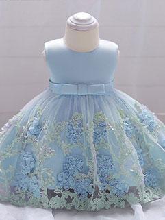 Elegant Floral Embroidery Dresses For Kid