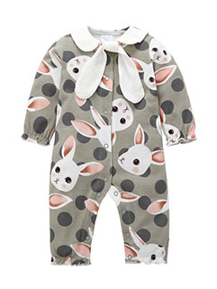 Rabbits Print Lapel Jumpsuits For baby