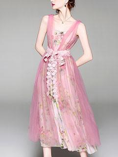 New Blush Chiffon Lace Gauze Flower Printing Dresses