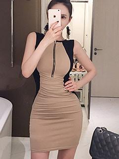 Korean OL Style Colorblock Wrap Dresses