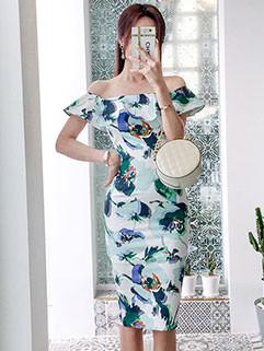 Summer Boat Neck Ruffle Flower Printing Dresses