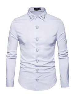 Euro Style Embroidery Long Sleeve Shirt