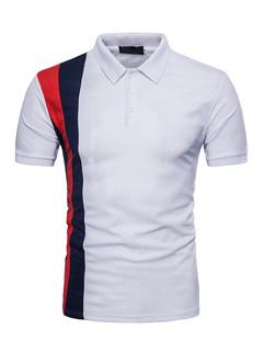 Unique Contrast Color Short Sleeve Polo Shirt