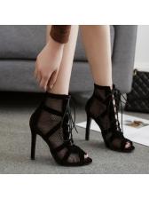 Mesh Peep Toe Sexy High Top Sandals