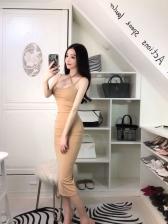 Backless Bandage Slit Solid Womens Sleeveless Dresses