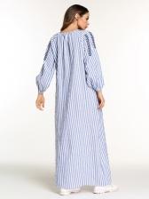 Muslim Loose Striped Long Robe