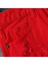 Sexy High Waist Red Irregular Holes Short Skirts