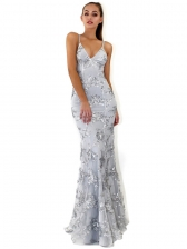 Sequined Backless V Neck Sexy Party Gown Ladies