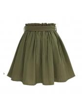 Bow Elastic Waist Button Up Green Skirt