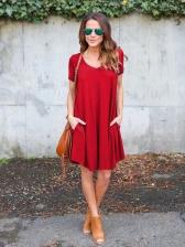 Casual V Neck Loose Short Sleeve Dresses