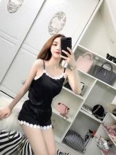 Summer Lace Trim Silk Vest With Shorts Sleepwear
