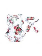 Infant Flower Prints Pom Pom Romper Hairband