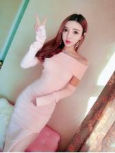 Solid Off Shoulder Slit Dresses