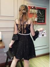 Transparent Patchwork Lace Embroidery Dresses