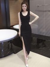 Knit V Neck Off Shoulder Slit Dresses