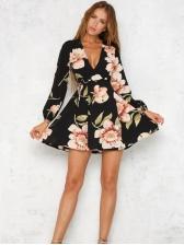 Sexy Deep V Neck Floral Dresses