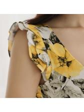 Elegant Flounce Floral Wavy Dresses