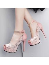 Super High Heel Lace Panel Peep-toe Sandals