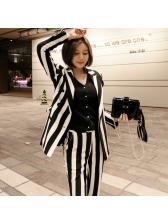 Elegant Striped Contrast Color Women Suit