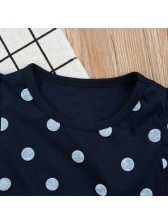 Children Dot Print Top With Solid Short Pants