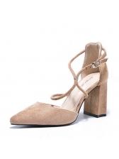 Elegant Suede Pointed Strappy Heels