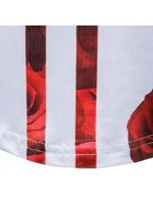 Stylish Rose Floral Short Sleeve Tee