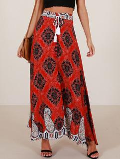 Vintage Floral Printing Tie-Wrap Skirt