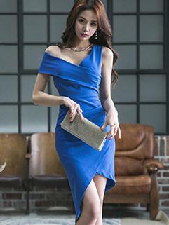Korean Sexy Blue V Neck Irregular Dresses