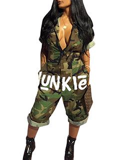 Camouflage Pattern Low V Neck Letter Women Jumpsuit(3-4 Days Delivery)
